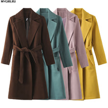 Load image into Gallery viewer, MVGIRLRU Women's coats wool&blends women's parkas pockets belted Jackets Brown Coffee black pink Outerwear