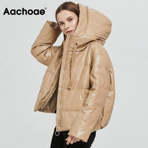 Aachoae Women Thick Warm PU Faux Leather Padded Coat 2020 Winter Zipper Hooded Jacket Parka Long Sleeve Pockets Outerwear Tops