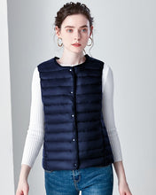 Load image into Gallery viewer, New Causal Women White Duck Down Vest Ultra Light Vest Jacket Winter Weightless Round Collar Sleeveless Coat
