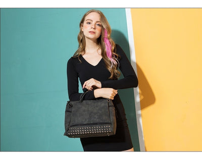 Women's Rivets Quality Leather Tote Bags