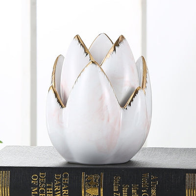 Gold Stroke Ceramic Marble Candle Holder
