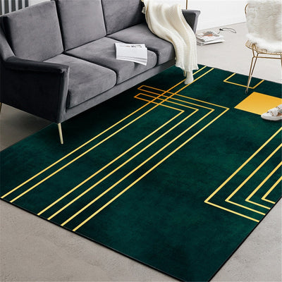 Nordic Luxury Green Carpet With Gold Geometric Line