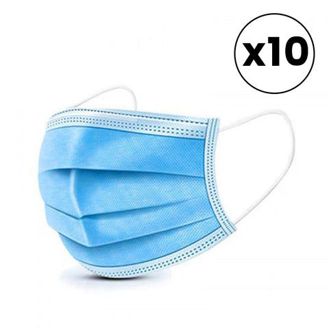 10 Pack Disposable Personal Face Masks