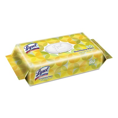 Lysol Disinfecting Wipes, Lemon Lime, New Re-closable Pouch, 80 Sheets (6/Case)