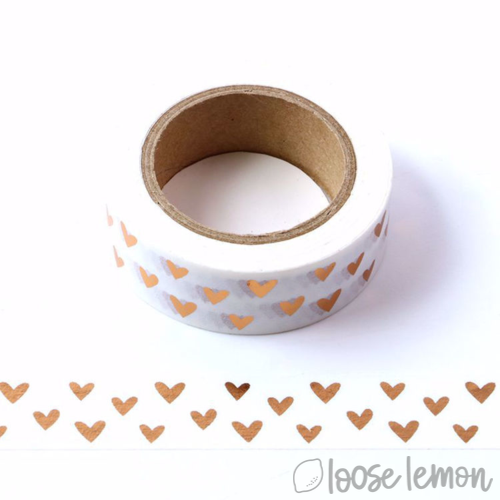 Loose Lemon Crafts - Rose Gold Heart Foil Washi