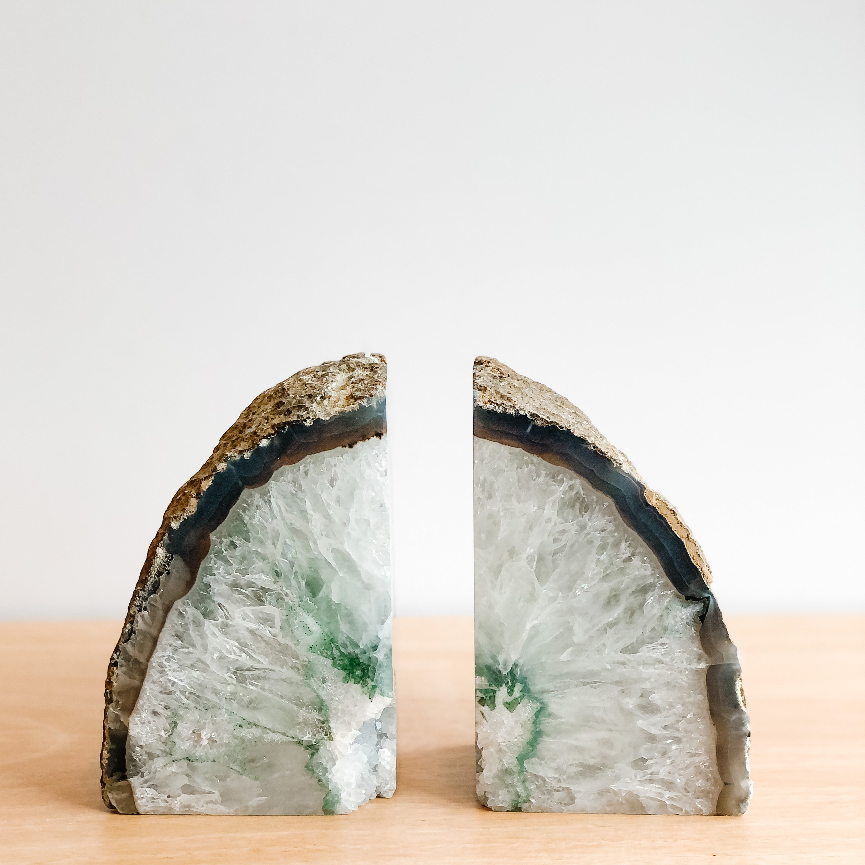 GREEN AGATE BOOKENDS