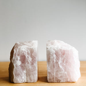 ROSE QUARTZ BOOKENDS - LARGE
