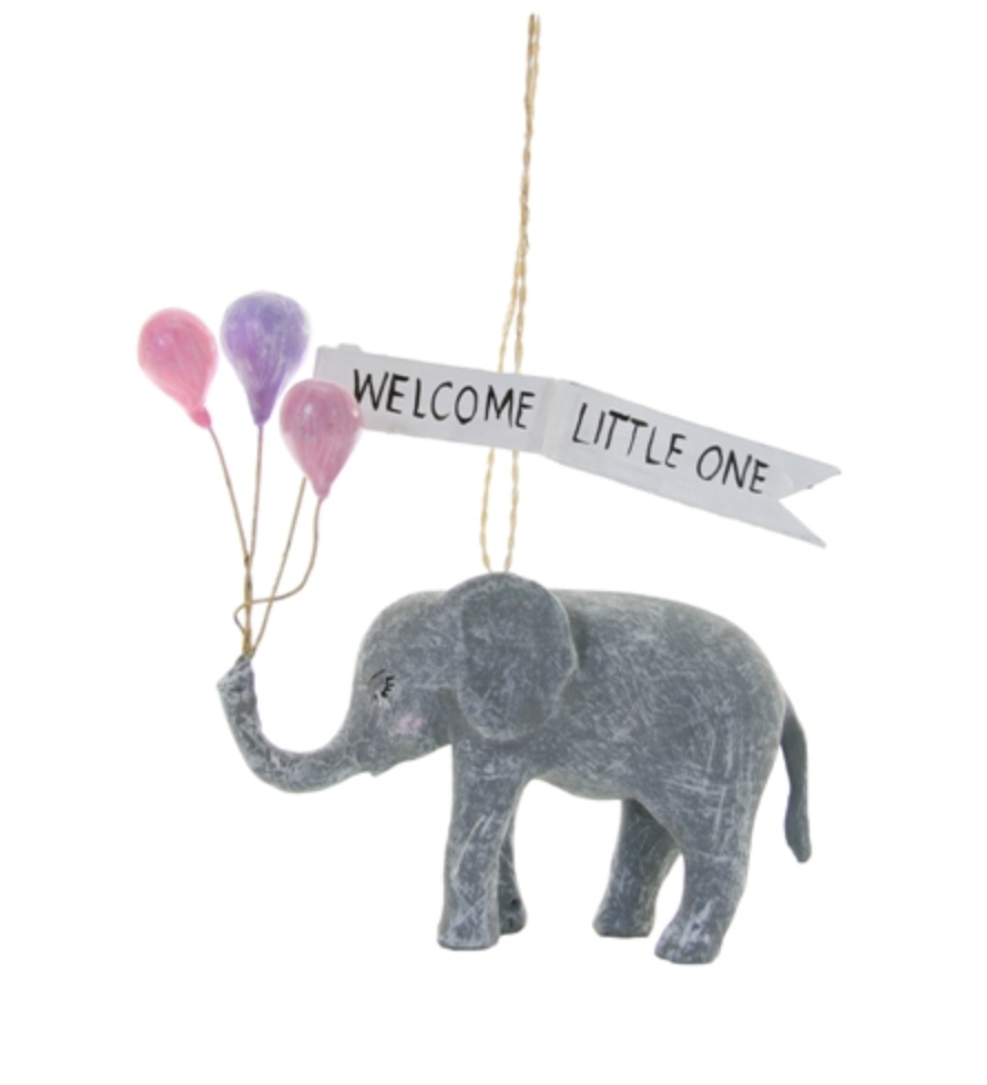 WELCOME LITTLE ONE ELEPHANT ORNAMENT
