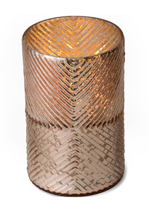 ROSE GOLD RIBBED GLASS HURRICANE - TOBACCO BARK