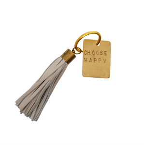 LEATHER KEYCHAIN WITH INSPIRATIONAL MESSAGE