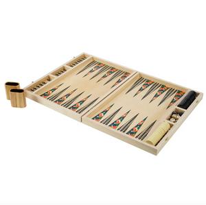 POPPY GREEN TABLETOP BACKGAMMON SET