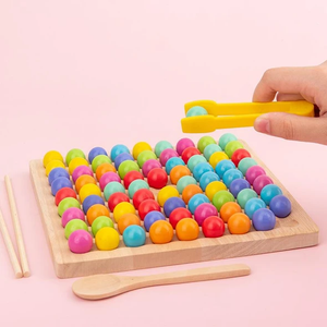Montessori Wooden Dots Shuttle Beads Board Game