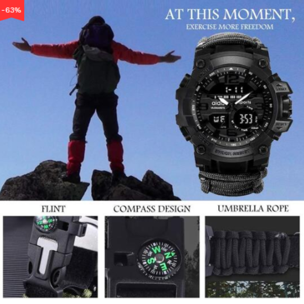 Outdoor Multifunctional Survival Waterproof Watch
