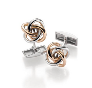 Gulldia Mann Silver and Rose Gold Plated Knotted Cufflinks