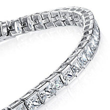 Load image into Gallery viewer, Princess Cut Sterling Silver Tennis Bracelet