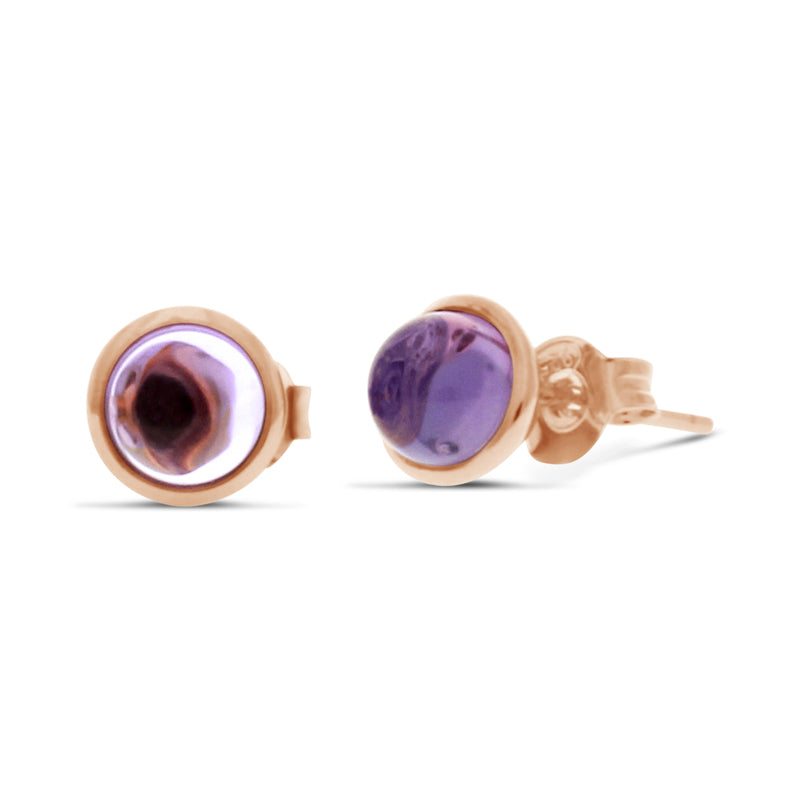 Rubover Amethyst Stud Earrings in 18ct Rose Gold Vermeil