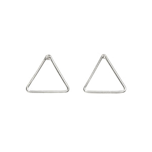 Open Silver Triangle Stud Earrings