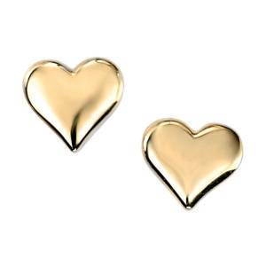 Heart shaped stud earrings in yellow gold