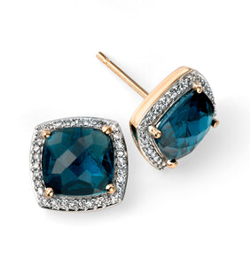 Yellow gold blue topaz and diamond stud earrings