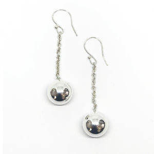 Large Silver Global Drop Earrings