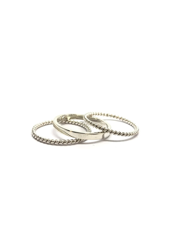 Set of 3 stacking rings with rope detail