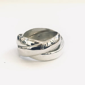 Chunky Silver Three Band Russian Ring