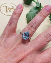 Load image into Gallery viewer, Grey Pear Shape CZ Ring in Silver