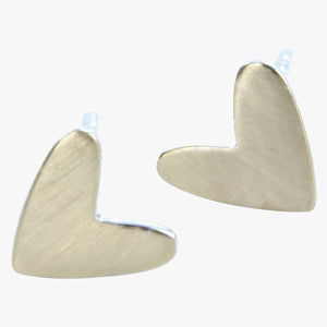 Polished heart stud earrings