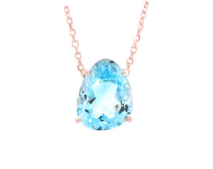 Aurora Necklace with Blue Topaz and Rose Gold Vermeil