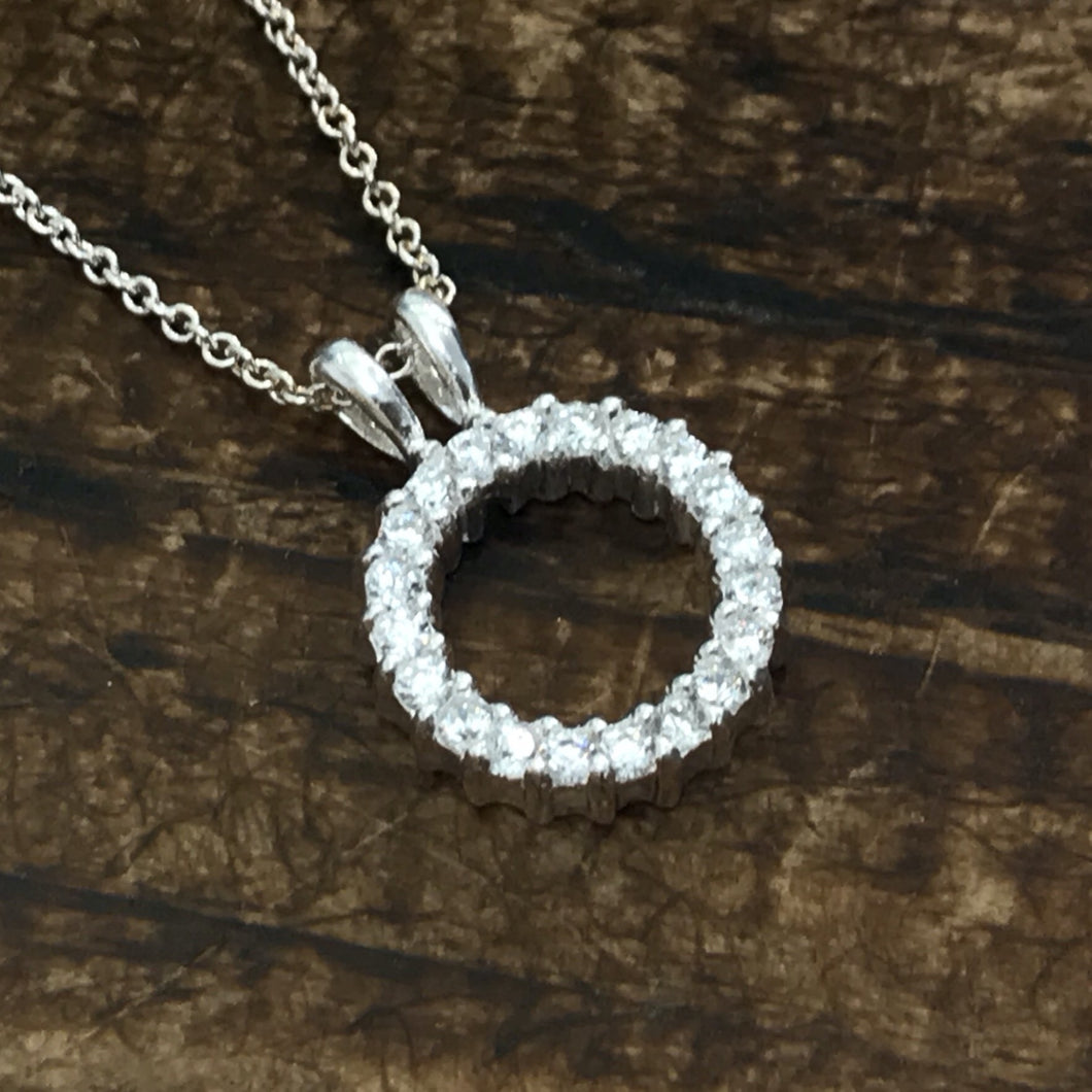 Clear CZ Round Halo Pendant