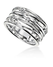Load image into Gallery viewer, Silver and CZ Wrapped Wire Effect Ring