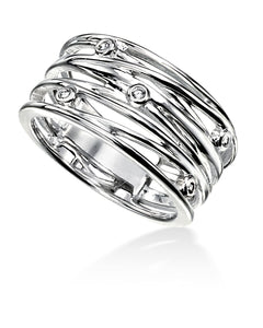 Silver and CZ Wrapped Wire Effect Ring