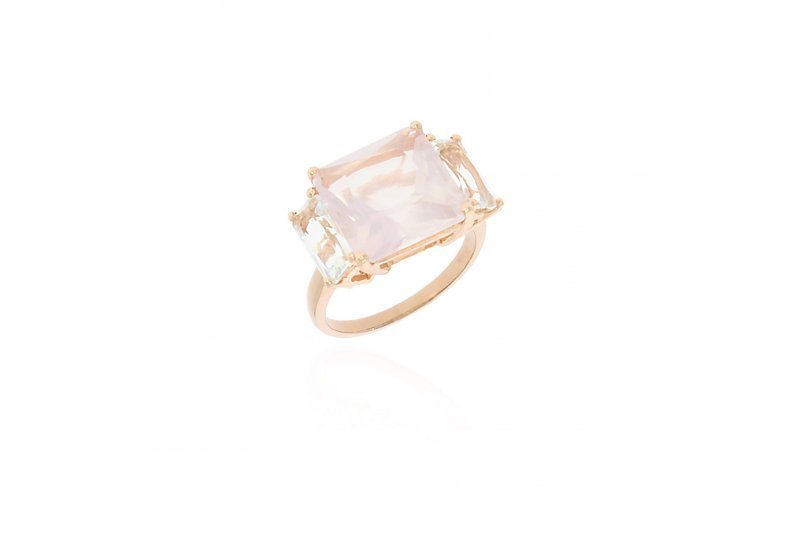 Xtra Star Mystique Ring with Rose Quartz and Green Amethyst