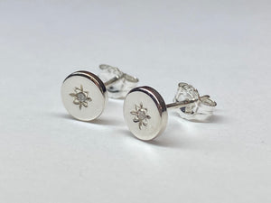 Silver Heritage Diamond Set Circle Stud