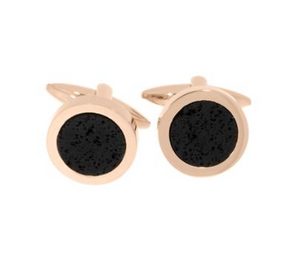 Gulldia Mann Stainless Steel Cufflink with Rose Gold Plate and Black Stone