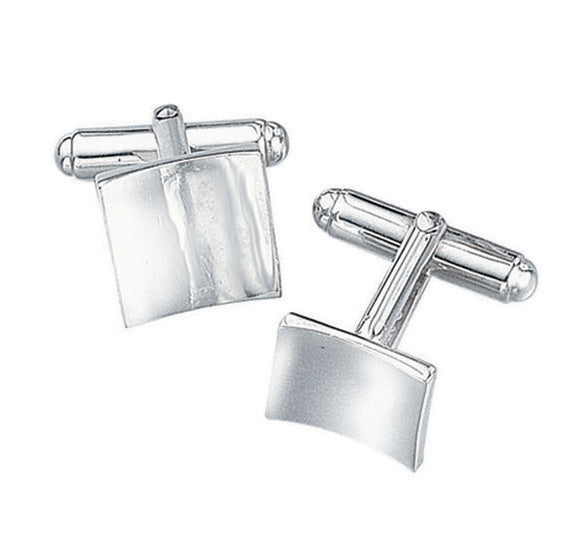 Concave Cushion Cufflinks in Silver