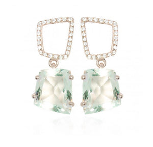 Fancy Abstract Green Amethyst and CZ Earrings