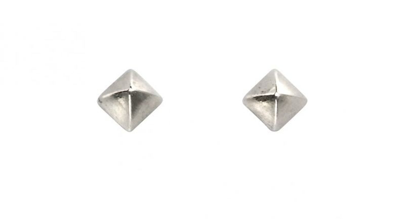 Silver Pyramid Stud Earrings