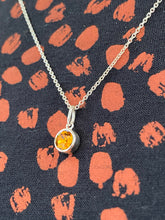 Load image into Gallery viewer, Silver Rubover Birthstone Pendant
