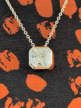 Load image into Gallery viewer, Radiant cut Silver and CZ Pendant