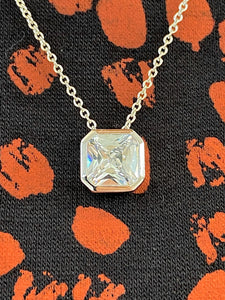 Radiant cut Silver and CZ Pendant