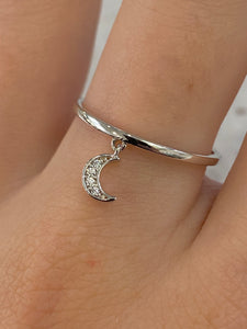 Silver Moon Charm Ring