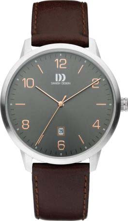 Gents Brown Leather Watch with Grey Face