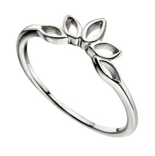 Load image into Gallery viewer, Lotus Flower Stacker ring in silver