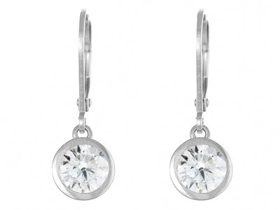 Silver Rhodium Plated Cubic Zirconia Dropper Earrings