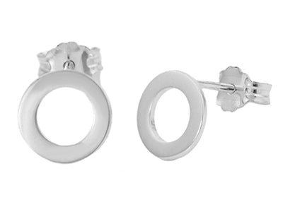 Open Circle Stud Earrings in Sterling Silver