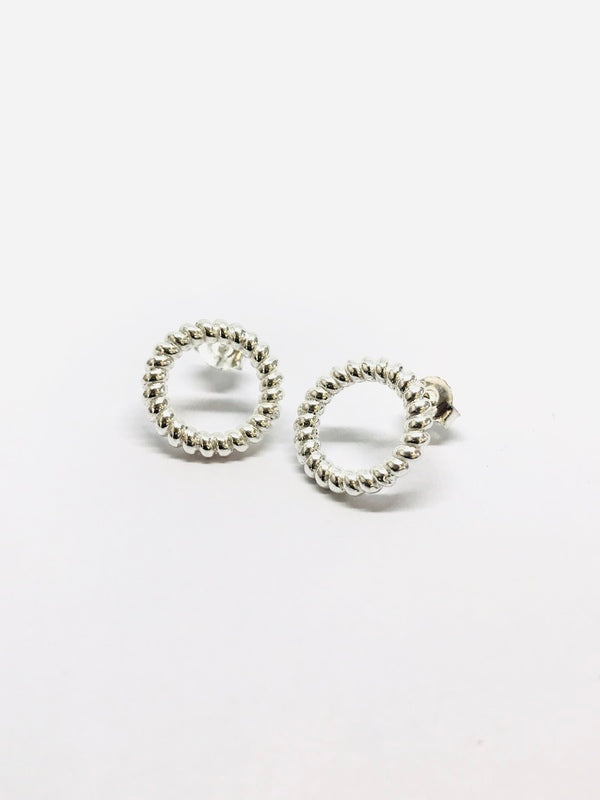 Silver Open Circle Rope Stud Earrings in Silver