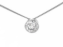 Load image into Gallery viewer, Silver Rhodium Plated Round CZ Pendant