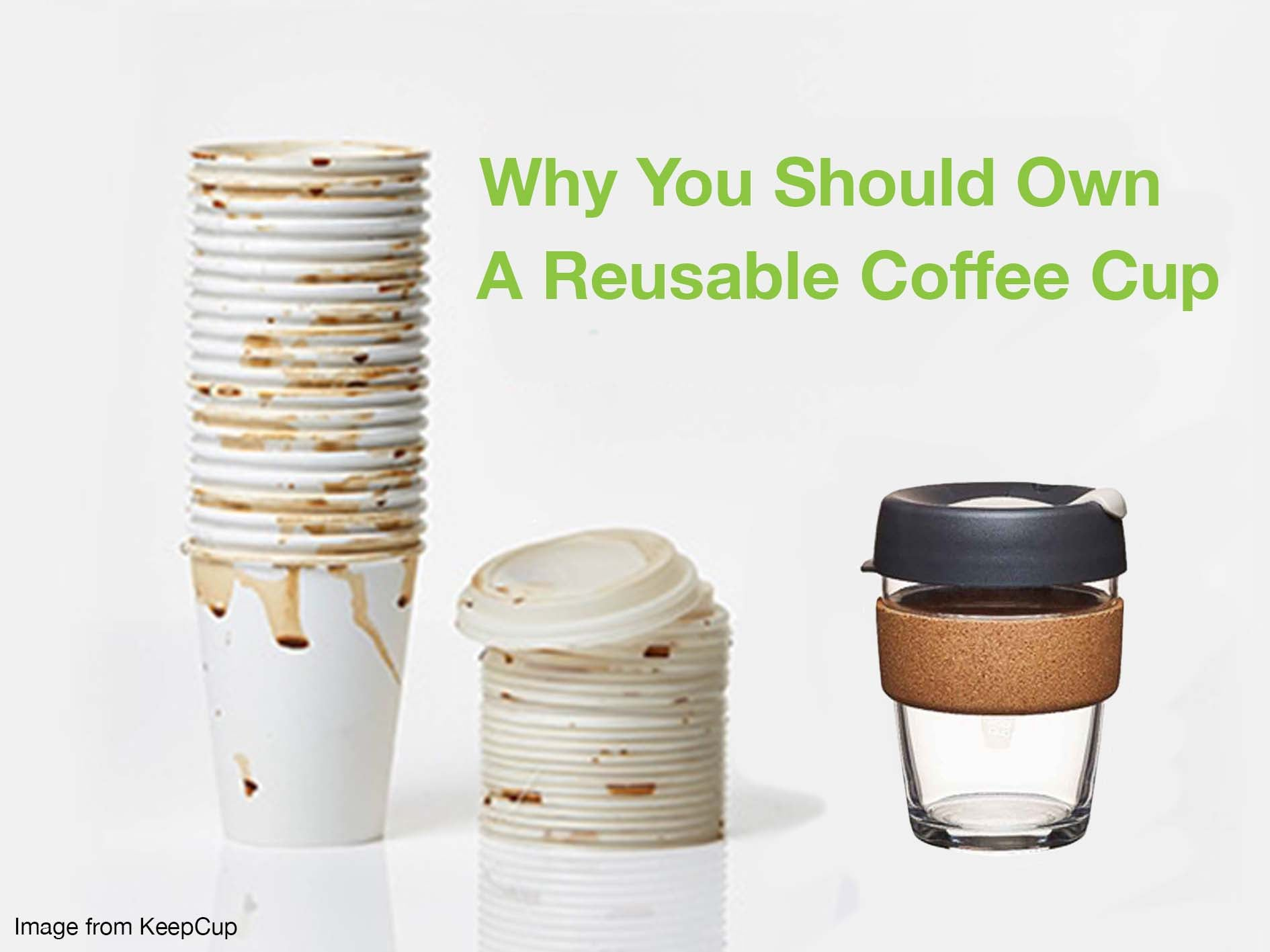 A tower of twenty used disposable cups next to one reusable coffee cup.