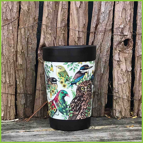 A CuppaCoffeeCup with a Birds of NZ print from Love Lis.